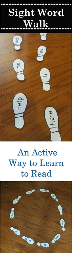 Fun Way to practice sight words.  Follow the footprints and say the words.  Play games, hunt words, dance, hop, plus many other ideas to get moving and learning. Available in pre-primer - 3rd grade Dolch sight words.  www.teacherspayteachers.com/store/tammys-toolbox-4544