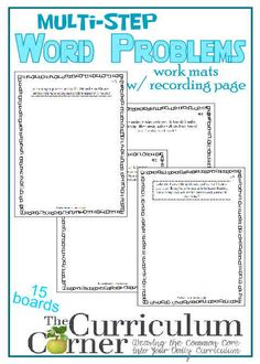 Multi-Step Word Problems | Work Mats for 4th & 5th grade Math | FREE from The Curriculum Corner | Problem Solving