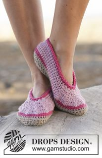 "Rose Petals - Crochet slippers in ""Nepal"". ~ DROPS Design. Aran weight. Sizes: US: 5/6½ - 7½/9 - 9½/10½. EU: 35/37 - 38/40 - 41/43."