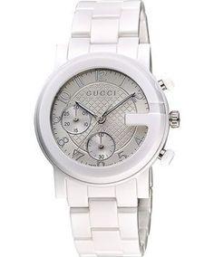 Gucci YA101353 G-Chrono Chronograph Unisex White Ceramic Watch 22% off retail