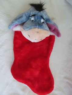 Disney's Winnie the Pooh Plush stocking with Winnie the Pooh bead topper. Winnie The Pooh Plush, Disney Winnie The Pooh, Eeyore, Christmas Stockings, Super Cute, Holiday Decor, Red, Needlepoint Christmas Stockings, Christmas Leggings