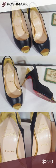 """CHRISTIAN LOUBOUTIN HEELS! 100% Preloved authentic Christian Louboutin heels! Open toe!  Gold accent at toe area and heels! 4.1/2"""" heels! Elastic at band ! Really small signs of wear at the back on heels! Please see picture 5th. Other than that in a really good condition! Christian Louboutin Shoes Heels"""