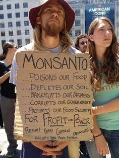 Monsanto needs to go--GMO'S weaken and kill those who consistently eat them!