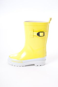 Overcrawls Gumboots - Canary Yellow - $39.95 - Bright and funky canary yellow kids wellies by Australian designer range Overcrawls!  Whether it's jumping in puddles or helping out in the garden these gorgeous girls gumboots will keep your little ones feet dry, comfy and looking oh so stylish as well!  Perfect footwear to team with some comfy pants, jeans or overalls! #littlebooteek #kids #footwear #fashion #unisex #overcrawls