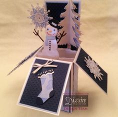 Frosty the snowman die Christmas Stockings die Snow is falling die CC centura pearl card/silver CC acetate Light blue card (my own) Dark blue card ( my own) White ribbon (my own)