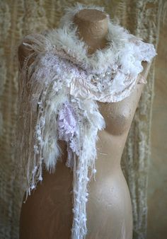 Frozen river-- shabby chic, romantic scarflette  from nuno felted silks and old cotton laces,soft tulle, hand embroidered details