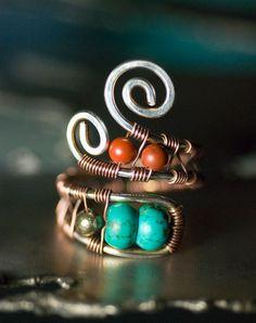 Diaspro verde turchese pirite argento trafilati in rame anello