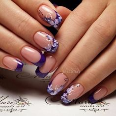 At the next position is the easy hawaiian nail art. Nail Art Design Gallery, Best Nail Art Designs, Nail Designs Spring, Acrylic Nail Designs, Purple Manicure, Purple Nail Art, Hawaiian Nail Art, Nail Photos, French Tip Nails