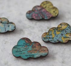 2 Cloud Brooches  - Vintage Maps - Puffy Rain Clouds - Spring Travel - Pastel Blue, Pink, Green, Yellow