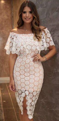 03b4455c8db7 Bodycon Lace Dress, Lace Dress White, Little White Dresses, Lace Ruffle,  African