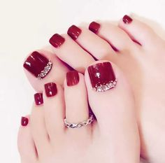 27 Adorable Easy Toe Nail Designs 2020 – Simple Toenail Art Designs : Page 2 of - Nails Pretty Toe Nails, Cute Toe Nails, Pretty Toes, Cute Toes, Toe Nails Red, Matte Nails, Acrylic Toe Nails, Simple Toe Nails, Glitter Nails