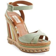 Valentino '1975' Ankle Strap Wedge ($595) ❤ liked on Polyvore featuring shoes, sandals, green tea leather, leather wedge sandals, braided leather sandals, buckle sandals, woven leather sandals and braided sandals