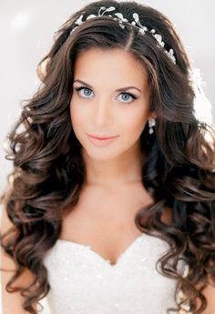 Wedding Hairstyle - Long, Curly, and Brown Hair