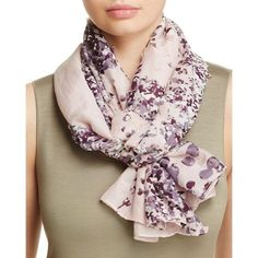 Fraas Perforated Floral Scarf ($84) ❤️ liked on Polyvore featuring accessories, scarves, floral shawl, floral scarves, fraas, fraas scarves and floral print scarves