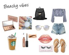 """""""Beachy vibes"""" by itsmylife-sandra ❤ liked on Polyvore featuring Hollister Co., Ray-Ban, Urban Decay, Boohoo, Love, 3x1, Summer, waves and beachy"""