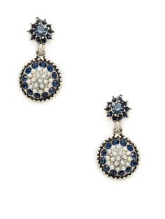 Azaara Vintage Swarovski Pearl & Crystal Disc Drop Earrings
