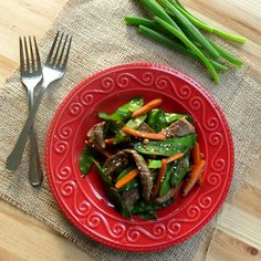 Sesame beef strips, snow peas and carrots are stir fried in an Asian-inspired, finger-licking good sauce. Just 30 minutes and this one-dish meal is done.