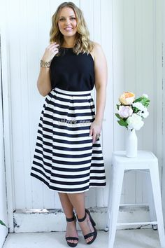 Skyline Skirt in Stripe $55.90  Bold striped pieces like the Skyline Skirt brings out the stripe-obsessed fashionista in us! We could go on for days about how fabulous this skirt is, but here's what you need to know… This skirt has a fitted waistline (not elasticised) and a zipped closure at the back. It also features soft pleating along the waistband, creating a flared, feminine shape.