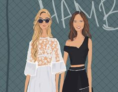 Fashion Drawing / Illustration of song sisters, Aimee Song & Dani Song, I love her style and blog from Song Of Style. I did a handrawing for this, then I put color on the drawing using photoshop.