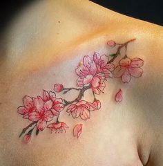 Wolf Tattoo Design, Floral Tattoo Design, Flower Tattoo Designs, Cherry Blossom Tattoo Shoulder, Cherry Blossom Art, Tattoos To Cover Scars, Cover Tattoo, Tattoo Sleeve Designs, Sleeve Tattoos