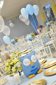 Salão decorado para festa infantil no tema corujinha.