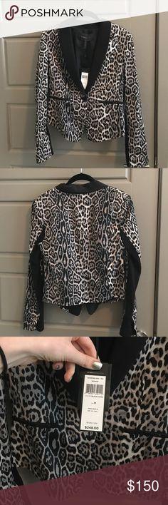 """BCBG grey & black leopard print blazer NWT leopard blazer. Grey & black with satin lining. Single button BCBG """"Bowie"""" blazer NWT BCBGMaxAzria Jackets & Coats Blazers"""