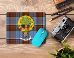 Rubber mouse mat with Anderson clan crest and tartan - only from ScotClans