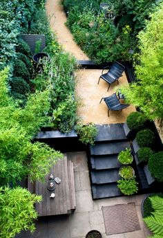 The Black and Green Garden of Landscape Designer Chris Moss. (The view from upstairs of the terrace garden in Stockwell, South London, U.K.). Photo by Marcus Harpur.