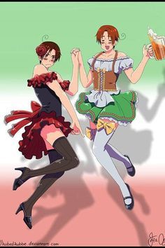 Why am I even pinning this..? < becAUSE IT SHOWS THE SHIPS, ITALY WEARING A GERMAN STYLED DRESS, ROMANO WEARING A SPANISH STYLED DRESS