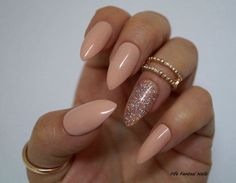 Nude Stiletto Nails Holographic stiletto nails Fake nails