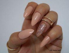 Nude Stiletto Nails Holographic stiletto nails Fake nails