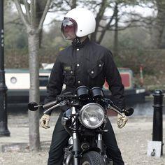 Bell custom 500 helmet and Barbour on Triumph Thruxton