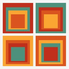 Josef Albers Style Color interactions - 4 sets of squares with 4 colors in each Josef Albers, Anni Albers, Color Theory Books, Bauhaus Textiles, Inspiration Artistique, Abstract Geometric Art, Plant Illustration, Modern Artists, Pin Up Art