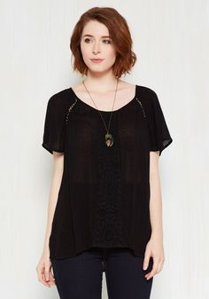 Park! Who Goes There? Top in Noir by ModCloth - Black, Solid, Work, Casual, Short Sleeves, Fall, Woven, Good, Exclusives, Private Label, Scoop, Crochet, Variation, Mid-length, Cotton, Cutout, Lace, Boho, 70s, Minimal, Summer, SF Fit Shop