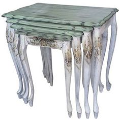 I could do this to my boring old brown ones Funky Painted Furniture, Paint Furniture, Furniture Makeover, Furniture Decor, Diy Vintage, Shabby Vintage, Art Deco Dressing Table, Shabby Chic Cottage, Luxury Home Decor