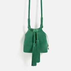 Image 2 of SPLIT-SUEDE CROSSBODY BAG WITH TASSELS from Zara