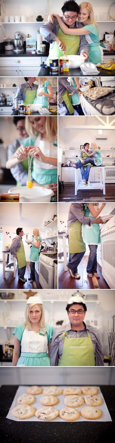 Cooking together! Would be way cute to do a cake that says 'save the date' or 'we're engaged!'