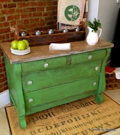 Empire Dresser or Buffet hand painted in Antibes Chalk Paint® with top refinished as distressed butcher block by Veronica of Bliss and Blossom Designs