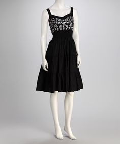 Take a look at this Black Flower Embroidery Sleeveless Dress by Phool Fashion on #zulily today!