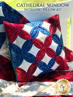 Cathedral Window Patriotic Pillow Kit - Video Project: **This is a video project only - NO pattern will be included. All instructions are shown in the YouTube video**This gorgeous Cathedral Window Patriotic Pillow adds just the right patriotic touch for your home! The intricate details complement the strong red, white, and blue colors used in this pillow, making it perfect for the Fourth of July! Combine this pillow with the coordinating Cathedral Window Flag Quilt for a wonderful Americana…