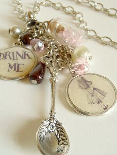 Alice in Wonderland Drink Me Potion Charm Necklace by The Jewelry Jar, 16.00