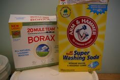 Use borax and washing soda in the laundry detergent. Baking soda will be slightly less effective in cleaning, but will be safer for sensitive skin.