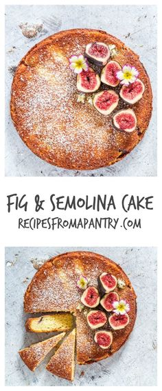 Fig And Semolina Cake - This gorgeous Greek yoghurt, fig and semolina cake recipe has a simple and stunning presentation. | recipesfromapantry.com