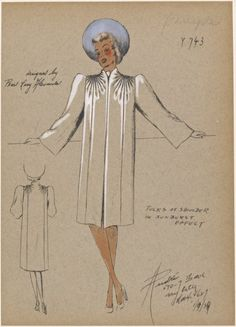 Straight coat with sunburst tucks at shoulders, Designed by Pearl Levy Alexander for André. From NYPL Picture Collection. Fashion Sketchbook, Fashion Sketches, Fashion Drawings, Retro Outfits, Vintage Outfits, Vintage Fashion, 1930s Fashion, Vintage Dresses, Love Clothing