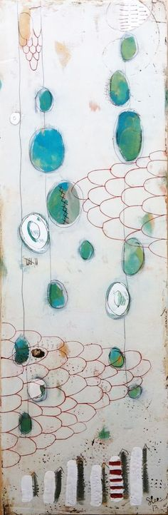 """They Walked Until Morning"" 12"" x 36"" x 2"" Plaster, acrylic, encaustic on wood. Stephanie Lee."
