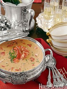 Lobster Bisque from Alex Hitz House Beautiful Magazine An elegant and luscious soup is the perfect way to celebrate the holiday season and pay tribute to the comforts of tradition. Cookbook Recipes, Home Recipes, Holiday Recipes, Cooking Recipes, Dessert Recipes, Lobster Recipes, Seafood Recipes, Lobster Bisque Recipe, Crab Bisque