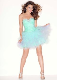 PRETTY Sorbet Green Ombre Short Prom Dress - Sticks and Stones Mori Lee 9199 - RissyRoos.com