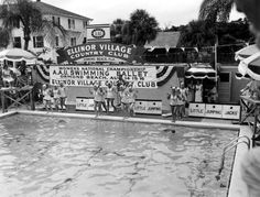 Florida Memory - Swimmers prepare to enter the pool - Ormond Beach, Florida
