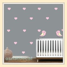 Wall Decal Hearts With Stars And Two Birds Pink Color 57 Herts Size 6*5cm Home Decor Nursery $42.85 USD
