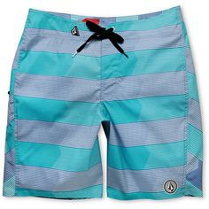 Volcom Guys V6S Stripe Aqua Board Shorts  I love board shorts, but they dont make this em this long for girls -_- So I hope for the best color match in regards to female bathing suits and male board shorts. Thats why black kinis are a safe bet but I hate wearing dark colors in summer...